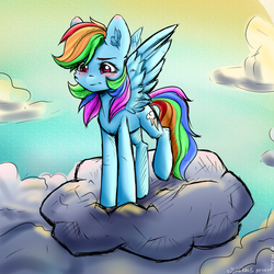 Size: 6000x6000 | Tagged: artist:generallegion, artist:zefirka, blushing, cloud, collaboration, digital art, rainbow dash, safe, simple background, solo, wings