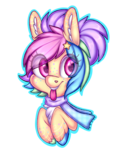 Size: 1024x1298 | Tagged: safe, artist:pinipy, oc, oc only, oc:cadbury creme, bust, chest fluff, clothes, cute, heart eyes, pastel, portrait, rainbow, scarf, simple background, solo, tongue out, transparent background, wingding eyes