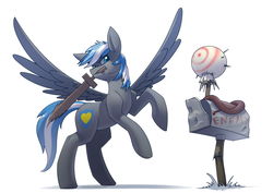 Size: 3508x2480 | Tagged: artist:underpable, dummy, mailbox, male, oc, oc:cloud zapper, oc only, pegasus, pony, safe, simple background, solo, stallion, weapon, white background, wings, wooden sword