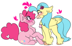 Size: 1280x825 | Tagged: safe, artist:korgikardigan, artist:noneedforstars, pinkie pie, princess skystar, classical hippogriff, earth pony, hippogriff, pony, my little pony: the movie, bedroom eyes, blush highlights, blush lines, blushing, chest fluff, chunky eyelashes, clam, female, flat colors, floating heart, floppy ears, flower, flower in hair, heart, heart eyes, heart tail, jewelry, lesbian, looking at each other, mare, necklace, raised hoof, shipping, simple background, sitting, skypie, smiling, transparent background, wingding eyes