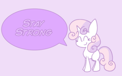 Size: 963x600 | Tagged: artist:typhwosion, blank flank, cute, dialogue, diasweetes, eyes closed, pony, positive message, positive ponies, safe, smiling, solo, speech bubble, sweetie belle, unicorn