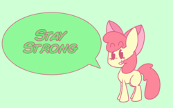 Size: 963x600 | Tagged: adorabloom, apple bloom, apple bloom's bow, artist:typhwosion, beady eyes, blank flank, bow, cute, dialogue, earth pony, green background, hair bow, pony, positive message, positive ponies, safe, simple background, smiling, solo, speech bubble