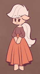 Size: 921x1700 | Tagged: safe, artist:typhwosion, applejack, semi-anthro, alternate hairstyle, beady eyes, bipedal, brown background, clothes, cute, dress, female, floppy ears, jackabetes, off shoulder, ponytail, simple background, solo