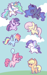Size: 1206x1920 | Tagged: safe, artist:typhwosion, applejack, fluttershy, pinkie pie, princess celestia, princess luna, rainbow dash, rarity, twilight sparkle, alicorn, earth pony, pegasus, pony, unicorn, :3, balloon, butterfly wings, chibi, cloud, cowboy hat, crown, cute, cutelestia, dashabetes, diapinkes, eyes closed, female, floating, flying, hat, jackabetes, jewelry, lunabetes, mare, open mouth, peytral, raribetes, regalia, shyabetes, sky, then watch her balloons lift her up to the sky, twiabetes, twilight sparkle (alicorn)