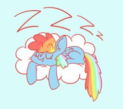 Size: 1144x1016 | Tagged: safe, artist:typhwosion, rainbow dash, pegasus, pony, cloud, cute, dashabetes, ear fluff, eyes closed, female, mare, missing cutie mark, prone, sleeping, solo, zzz