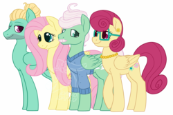Size: 1000x666 | Tagged: alternate version, artist:darkodraco, family, female, fluttershy, glasses, male, mare, mr. shy, mrs. shy, pegasus, pony, safe, simple background, smiling, stallion, watermark, white background, zephyr breeze
