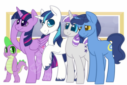 Size: 1000x666 | Tagged: alicorn, alternate version, artist:darkodraco, dragon, family, female, looking at you, male, mare, night light, pony, safe, shining armor, smiling, sparkle family, spike, stallion, twilight sparkle, twilight sparkle (alicorn), twilight velvet, unicorn, unshorn fetlocks, watermark