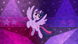 Size: 3840x2160 | Tagged: safe, artist:binakolombina, artist:laszlvfx, edit, idw, twilight sparkle, alicorn, pony, friends forever, spoiler:comic, female, flying, happy, mare, open mouth, solo, twilight sparkle (alicorn), wallpaper, wallpaper edit