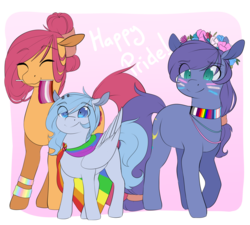 Size: 1280x1151 | Tagged: safe, artist:rue-willings, oc, oc:bubblepop, oc:morning dew, oc:sweet night, asexual, asexual pride flag, bisexual pride flag, bisexuality, face paint, female, filly, flag, floral head wreath, flower, gay, gay pride flag, lesbian, lesbian pride flag, lgbt, male, mare, pride, pride accessories, pride face paint, pride flag, pride flag bracelet, pride flag cape, pride flag necklace, pride flower crown, pride month, transgender, transgender pride flag, trio