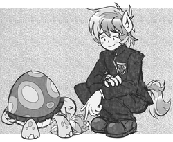 Size: 1010x830 | Tagged: anthro, artist:thegreatrouge, black and white, cute, eating, eyebrows visible through hair, grayscale, male, monochrome, safe, sandabetes, sandbar, solo, tank, tortoise