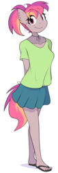 Size: 1000x2951 | Tagged: anthro, anthro oc, artist:furrgroup, clothes, cute, female, flip-flops, mare, miniskirt, oc, plantigrade anthro, ponytail, safe, sandals, skirt, smiling, solo