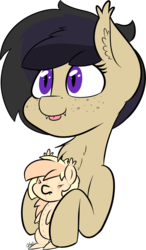 Size: 1584x2705 | Tagged: angry, artist:seafooddinner, bat pony, bat pony oc, birthday gift, chest fluff, cute, ear fluff, female, freckles, mare, oc, oc:darkius wolficus, oc only, oc:sun marks, :p, plushie, safe, scrunch, silly, simple background, tongue out, toy, transparent background