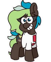 Size: 1000x1200 | Tagged: 2019 community collab, artist:threetwotwo32232, clothes, derpibooru community collaboration, earth pony, female, looking at you, mare, oc, oc:bright idea, oc only, pony, safe, shirt, solo, t-shirt