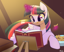 Size: 2198x1790 | Tagged: alicorn, artist:renokim, book, cute, daaaaaaaaaaaw, female, glowing horn, magic, mare, pony, reading, safe, solo, telekinesis, that pony sure does love books, twilight sparkle, twilight sparkle (alicorn)
