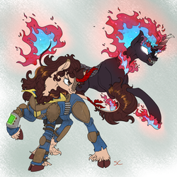 Size: 2000x2000   Tagged: safe, artist:sourcherry, oc, oc only, unnamed oc, kirin, nirik, fallout equestria, armor, clothes, cloven hooves, fallout, female, fire, hooves, horn, kirin oc, leonine tail, long mane, mane, mane of fire, pipboy, pipbuck, scales, solo, vault suit, wasteland ventures