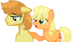 Size: 1224x720 | Tagged: applecest, applejack, artist:sapphireartemis, braeburn, braejack, female, hatless, incest, male, missing accessory, pony, sad, safe, shipping, simple background, story included, straight, transparent background, white outline