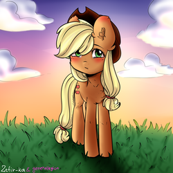 Size: 6000x6000 | Tagged: applejack, applejack's hat, artist:generallegion, artist:zefirka, blushing, clothes, cloud, collaboration, cowboy hat, earth pony, female, grass, hat, mare, pony, safe, simple background, sky, solo, stetson