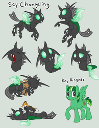 Size: 1076x1389 | Tagged: safe, artist:racingwolf, oc, oc only, oc:scy, changeling, fox, pegasus, rabbit, changeling oc, cuteling, disguise, disguised changeling, green changeling, plushie, ponysona, solo