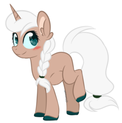 Size: 600x605 | Tagged: artist:sinamuna, au:equuis, base used, blushing, braid, brown fur, colored hooves, female, green eyes, horn, mare, oc, oc only, oc:sugar glaze, pony, ponytail, pregnant, redesign, safe, simple background, smiling, solo, transparent background, unicorn, updated design, white hair