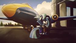 Size: 1920x1080   Tagged: safe, artist:ruhisu, oc, oc only, oc:wild blue, bomber, bomber jacket, clothes, english electric canberra, female, hangar, jacket, jet, mare, nose art, plane, sitting, smiling, solo