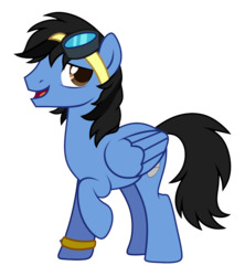 Size: 2064x2320 | Tagged: 2019 community collab, artist:alsarts, derpibooru community collaboration, goggles, looking at you, male, oc, oc:neo miles, oc only, pegasus, pony, raised hoof, safe, show accurate, simple background, solo, stallion, transparent background