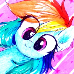 Size: 1153x1153 | Tagged: safe, artist:liaaqila, rainbow dash, pegasus, pony, abstract background, bust, cute, dashabetes, female, mare, smiling, solo, traditional art