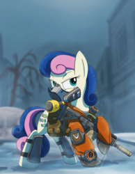 Size: 1056x1364   Tagged: safe, artist:buckweiser, bon bon, sweetie drops, earth pony, pony, clothes, dark zone, female, kriss vector, mare, mask, respirator, secret agent sweetie drops, snow, snowfall, submachinegun, suppressor, the division, tom clancy's the division, watch