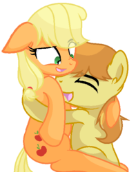 Size: 486x617 | Tagged: applecest, applejack, artist:sapphireartemis, braeburn, braejack, female, hatless, hug, incest, male, missing accessory, pony, safe, shipping, simple background, story included, straight, transparent background