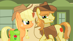 Size: 2485x1404 | Tagged: applecest, applejack, artist:sapphireartemis, braeburn, braejack, female, incest, male, pony, saddle bag, safe, shipping, story included, straight