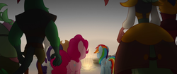 Size: 1920x804 | Tagged: anthro, anthro with ponies, applejack, basalt beach, capper dapperpaws, captain celaeno, earth pony, female, light, lix spittle, male, mare, mullet (character), my little pony: the movie, parrot pirates, pegasus, pinkie pie, pirate, pony, rainbow dash, rarity, rear view, safe, screencap