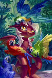 Size: 1378x2067 | Tagged: safe, artist:holivi, oc, oc only, oc:picture perfect, bat pony, bird, blue-and-yellow macaw, hyacinth macaw, macaw, parrot, pony, scarlet macaw, bat pony oc, cute, fangs, female, mare, signature, solo