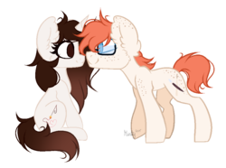 Size: 928x689 | Tagged: safe, artist:mintoria, oc, oc only, oc:james, oc:taya, earth pony, pony, unicorn, female, glasses, mare, simple background, transparent background