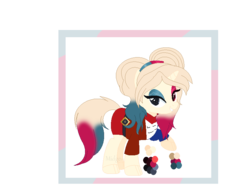 Size: 800x624   Tagged: safe, artist:selenaede, artist:vixenfin, oc, oc only, oc:har-harley queen, pony, unicorn, base used, bedroom eyes, belt, clothes, dc comics, eyeshadow, female, harley quinn, heterochromia, jacket, makeup, mare, pigtails, raised hoof, reference sheet, shirt, simple background, skirt, solo, t-shirt, transparent background