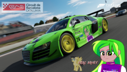 Size: 480x270 | Tagged: safe, artist:forzaveteranenigma, lemon zest, fanfic:shadowbolts racing, equestria girls, audi, audi r8, audi r8 lms, car, circuit de barcelona-catalunya, driving, forza motorsport 7, lamborghini huracan supertrofeo, photo, racing, solo