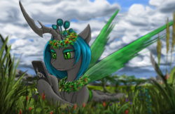 Size: 2862x1858 | Tagged: safe, artist:vladimir-olegovych, queen chrysalis, shining armor, changeling, changeling queen, cellphone, changelings in the comments, cloud, cute, cute little fangs, cutealis, fangs, female, floral head wreath, flower, flower in hair, grass, phone, prone, slit eyes, smiling, solo