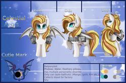 Size: 3337x2212 | Tagged: safe, artist:pridark, oc, oc only, oc:celestial aegis, bat pony, pony, bat pony oc, female, gun, mare, minigun, reference sheet, smiling, solo, weapon
