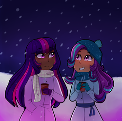 Size: 2609x2584 | Tagged: artist:emera33, blushing, chocolate, clothes, coat, dark skin, female, food, hat, hot chocolate, human, humanized, lesbian, looking at each other, night, safe, scarf, shipping, smiling, snow, snowfall, starlight glimmer, twilight sparkle, twistarlight