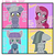 Size: 1280x1280   Tagged: safe, artist:/d/non, limestone pie, marble pie, maud pie, pinkie pie, pony, fanfic:cupcakes, bipedal, blushing, both cutie marks, chest fluff, colored pupils, crossed hooves, cute, cuteamena, dandere, female, hoof hold, knife, kuudere, limabetes, limetsun pie, marblebetes, maudabetes, parody, pie sisters, pinkamena diane pie, siblings, sisters, tsundere, yandere, yandere pie
