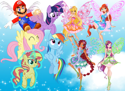 Size: 2376x1737 | Tagged: aisha, alicorn, amulet, artist:andoanimalia, artist:dashiesparkle, artist:magical-mama, artist:osipush, artist:user15432, aura, bloom (winx club), blue sky, butterflix, clothes, cloud, crossover, fairy, fairy wings, fluttershy, flying, hasbro, hasbro studios, high heels, human, humanized, jewelry, layla, levitation, magic, magic aura, maridash, mario, marioshy, necklace, nintendo, pegasus, pony, rainbow dash, rainbow s.r.l, roxy (winx club), safe, self-levitation, shoes, sky, sparkles, stella (winx club), sunset shimmer, super mario bros., super smash bros., telekinesis, twilight sparkle, twilight sparkle (alicorn), unicorn, winged humanization, wings, winx, winx club
