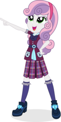 Size: 1995x3982 | Tagged: safe, artist:punzil504, sweetie belle, equestria girls, friendship games, alternate universe, clothes, crystal prep academy uniform, cute, female, hairband, open mouth, pleated skirt, pointing, school uniform, shoes, simple background, skirt, smiling, socks, solo, transparent background
