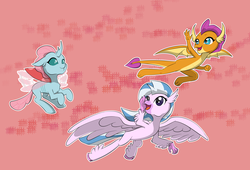 Size: 11000x7500 | Tagged: safe, artist:chedx, ocellus, silverstream, smolder, changedling, changeling, classical hippogriff, dragon, hippogriff, absurd resolution, cute, diaocelles, diastreamies, dragoness, female, flying, open mouth, pink background, simple background, smolderbetes, trio