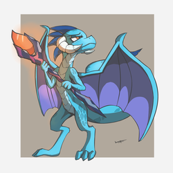 Size: 1200x1200 | Tagged: artist:quadrog, bloodstone scepter, dragon, dragoness, female, gray background, horns, princess ember, safe, simple background, solo, spread wings, wings