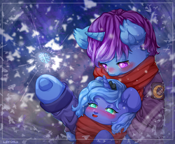 Size: 2408x1980 | Tagged: safe, artist:lokoro, princess luna, oc, oc:azure night, pony, azuna, blushing, canon x oc, clothes, coat, cute, cutie mark, female, filly, jacket, jewelry, lunabetes, scarf, smiling, snow, snowflake, tiara, winter, woona, ych result, younger