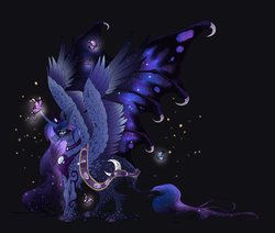 Size: 2017x1709 | Tagged: alicorn, artist:alissa1010, bat wings, butterfly, cloven hooves, crown, cutie mark, ethereal mane, ethereal wings, female, freckles, glowing eyes, horn, hybrid wings, jewelry, leonine tail, mare, necklace, pony, princess luna, redesign, regalia, safe, sash, slit eyes, smiling, solo, sparkles, unshorn fetlocks, wing claws, wings