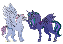 Size: 2388x1668 | Tagged: alicorn, alicorn oc, artist:zapwbolt, changepony, female, hybrid, interspecies offspring, kindverse, lesbian, magical lesbian spawn, oc, oc:firefly, oc only, oc:turquoise edge, offspring, offspring shipping, parent:limestone pie, parent:princess luna, parent:queen chrysalis, parents:chrysaluna, parents:zephyrstone, parent:zephyr breeze, pegasus, safe