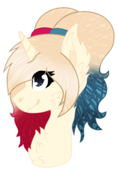 Size: 695x1017   Tagged: safe, artist:space--paws0w0, oc, oc only, oc:har-harley queen, pony, unicorn, bust, chest fluff, dc comics, ear fluff, female, harley quinn, mare, pig tail, pigtails, simple background, solo, transparent background