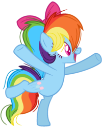 Size: 848x1048 | Tagged: artist:bezziie, bow, earth pony rainbow dash, hair bow, pony, race swap, rainbow dash, safe, simple background, solo, swapped cutie marks, transparent background
