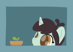 Size: 2436x1744 | Tagged: artist:phat_guy, derpibooru exclusive, female, flower pot, frame, horn, las pegasus resident, lineless, mare, pony, potted plant, safe, simple background, solo, sprout, sprout greenhoof, unicorn