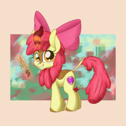 Size: 2200x2200   Tagged: safe, artist:litrojia, apple bloom, kirin, abstract background, bow, curved horn, cutie mark, fake cutie mark, female, filly, horn, kirin-ified, leg fluff, leonine tail, levitation, looking at you, magic, paint, paintbrush, scales, smiling, solo, species swap, standing, telekinesis, the cmc's cutie marks
