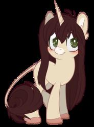 Size: 600x817 | Tagged: safe, artist:sinamuna, oc, oc only, oc:cinnamon fawn, pony, unicorn, base used, blushing, brown hair, colored hooves, female, green eyes, hazel eyes, horn, leonine tail, long hair, ponysona, smiling, solo